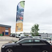 Forecourt Flag and Flag Pole with Curved Arm