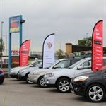 Supermarket car forecourt flag stands